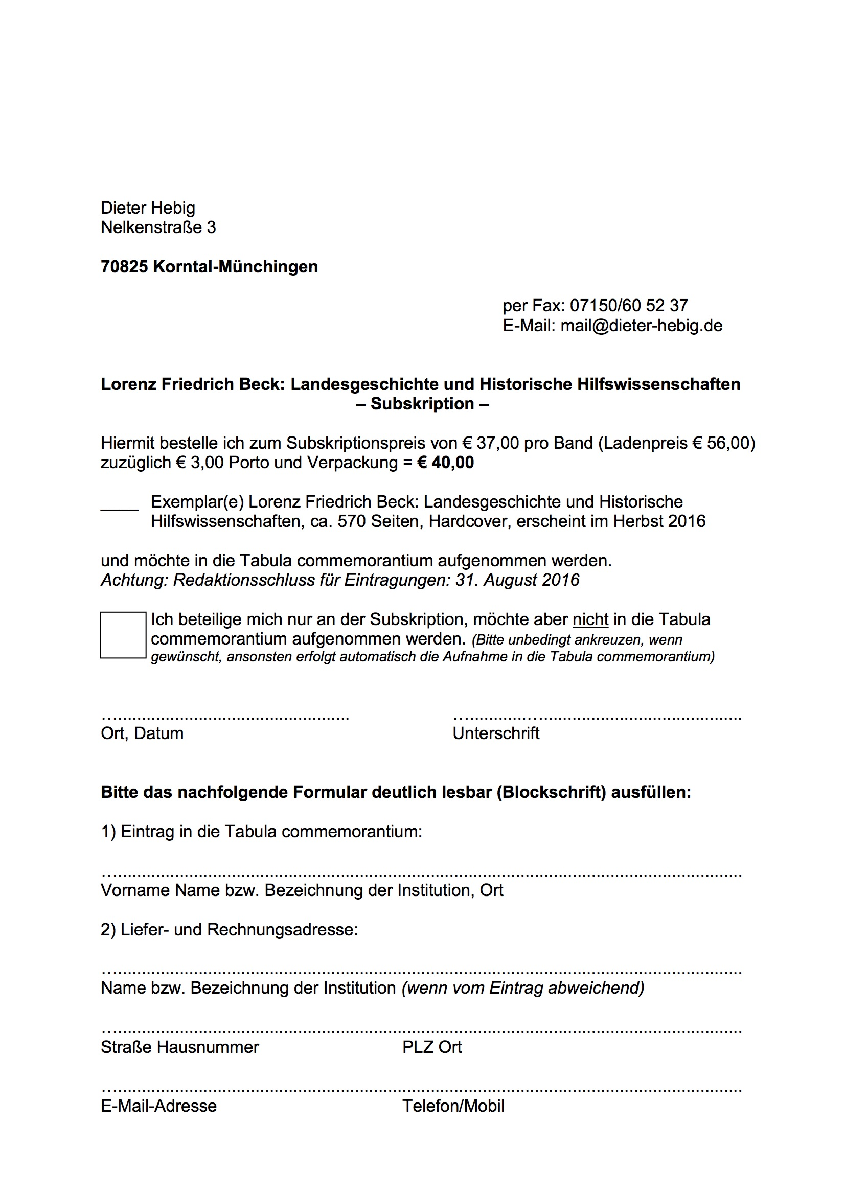 WFI Lorenz Beck Tabula Anmeldung