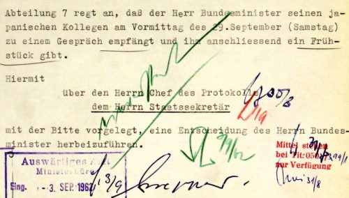 """Die klassischen Farben 1962 im Auswärtigen Amt: Blau = Abteilungsleiter (""""Chef des Protokolls""""), Rot = Staatssekretär, Grün = Bundesminister"""