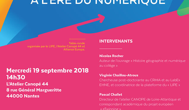 Table ronde L'Europe en classe à l'ère du numérique, Nantes digital week, 19 septembre 2018 à 14h30