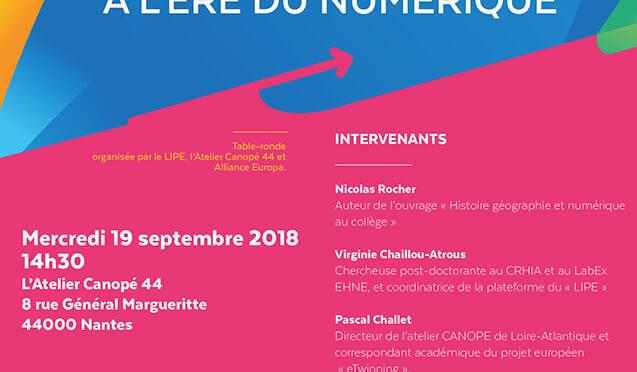 Table ronde L'Europe en classe à l'ère du numérique, Nantes digital week, 19 septembre 2018 à 14h30