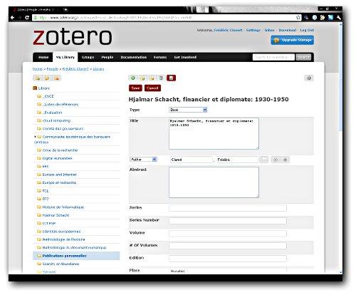 Modifier un item sur le site de zotero.org