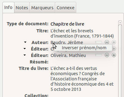 Capture d'écran montrant l'option «Inverser prénom/nom»