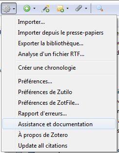 Passer par le menu de Zotero renvoie sur zotero.org/support