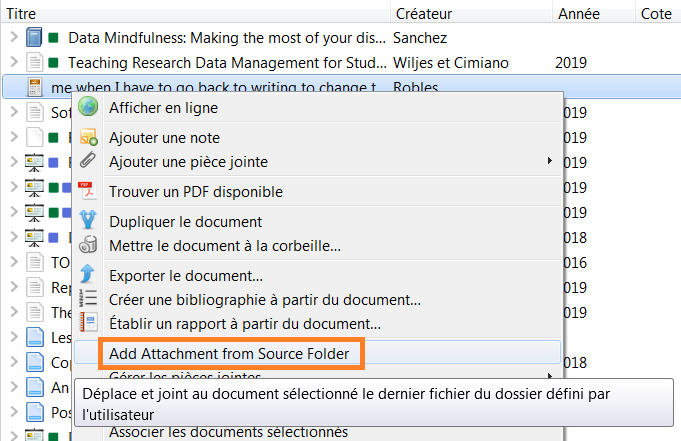 copie d'écran : attacher un fichier enregistré dans le dossier source de ZotFile