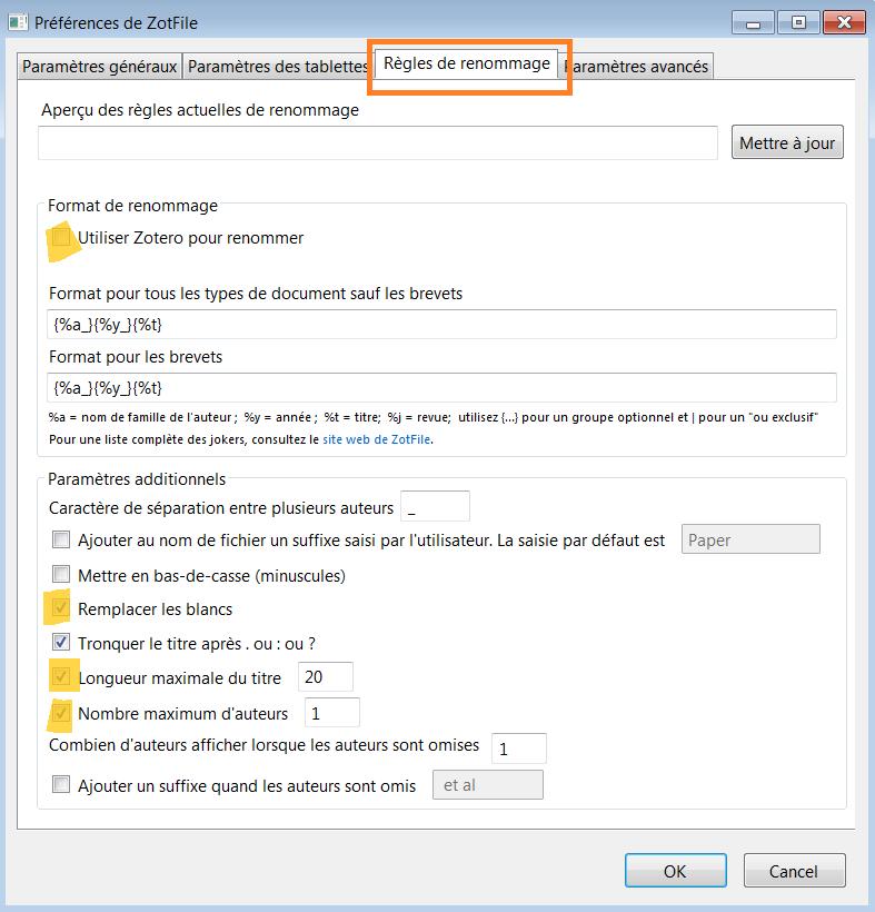 copie d'écran : règles de renommage dans les préférences de ZotFile