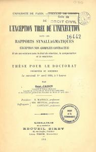Page de titre de la thèse de René Cassin