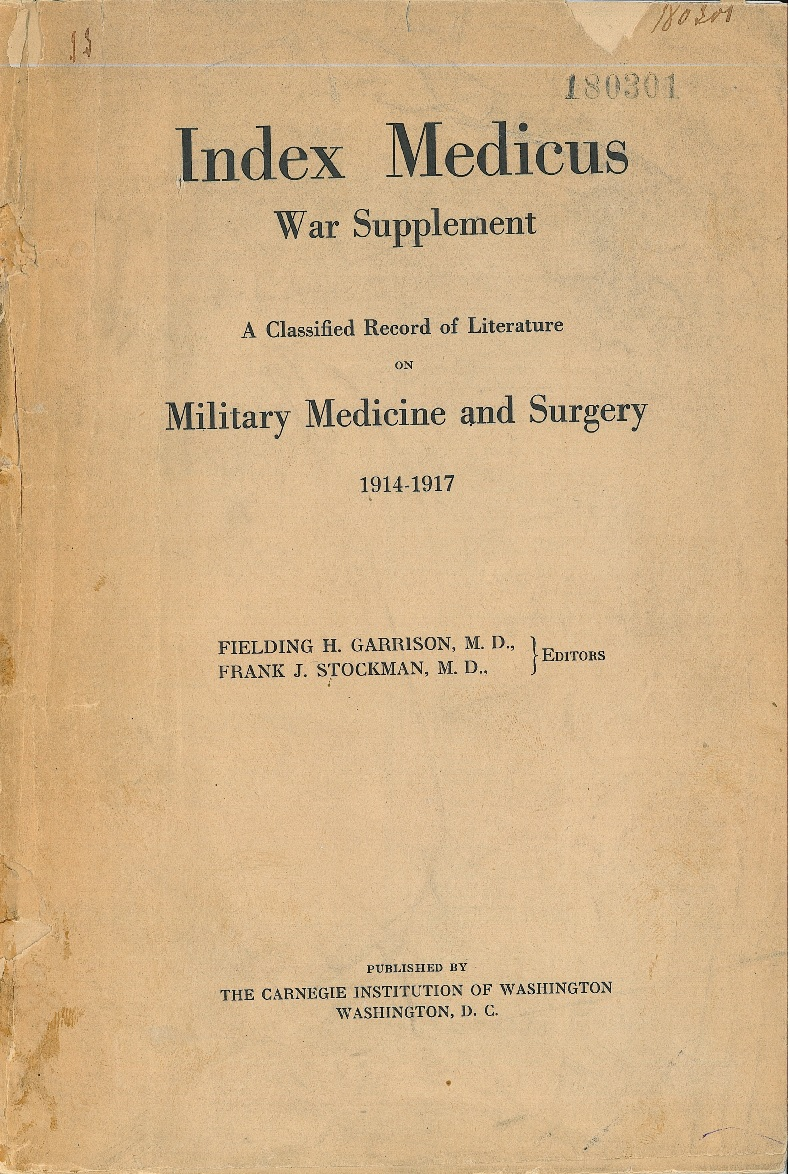 Couverture de l'index medical war supplement 1914-1917