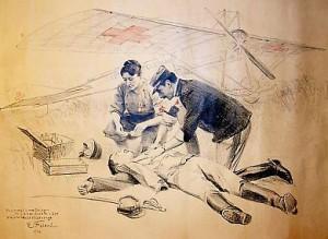 Seul témoignage du  projet, un dessin coloré réalisé par le peintre Emile Friant en 1914 et représentant Marie Marvingt et un médecin portant secours à un blessé de guerre avec le fameux monoplan en arrière-plan.