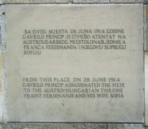 Plaque commémorative de l'assassinat de François-Ferdinand à Sarajevo