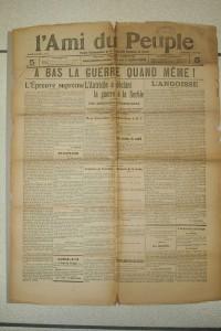 Une du dernier numéro  de L'Ami du Peuple, l'hebdomadaire crée et dirigé par Alexandre Varenne, futur fondateur de La Montagne, paru au lendemain de la déclaration de guerre de