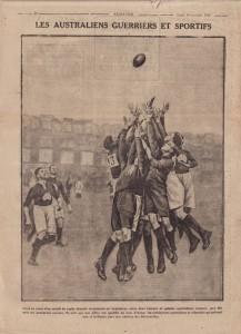 Illustration publiée dans Excelsior glorifiant les sportifs et soldats australiens, 1916.