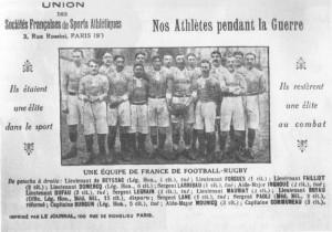 Tract en mémoire de l'équipe de France de Rugby décimée par la Grande Guerre.
