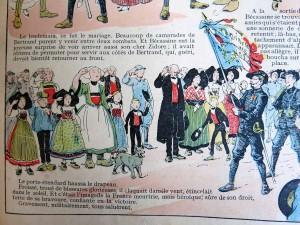 Vignette de l'album Bécassine pendant la guerre. Le salut au drapeau de la célèbre héroïne bretonne.