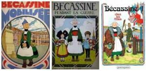 Les trois albums des aventures de Bécassine publiés pendant la guerre.