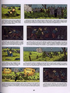 Une planche de l'album Les Pieds Nickelés s'en vont en guerre. Le champs de bataille est fantasmé et la violence représentée de manière candide.