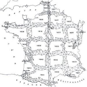 Carte illustrant la constitution du maillage trigonométrique du territoire français effectué dans pendant la première partie du XIXe siècle