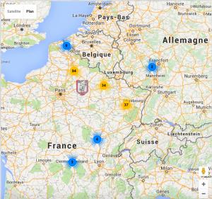 Géolocalisation du 92e et 105e régiments d'Infanterie.