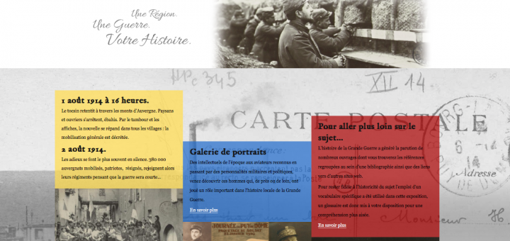 """Page d'accueil de l'exposition Virtuelle """"La Grande Guerre des Auvergnats"""" proposée par la bibliothèque du Patrimoine de Clermont-Ferrand."""