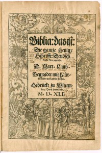 "Titelblatt der ""Eber-Bibel"" (FBG, Theol. 2° 23/7. © Universität Erfurt, Forschungsbibliothek Gotha)"