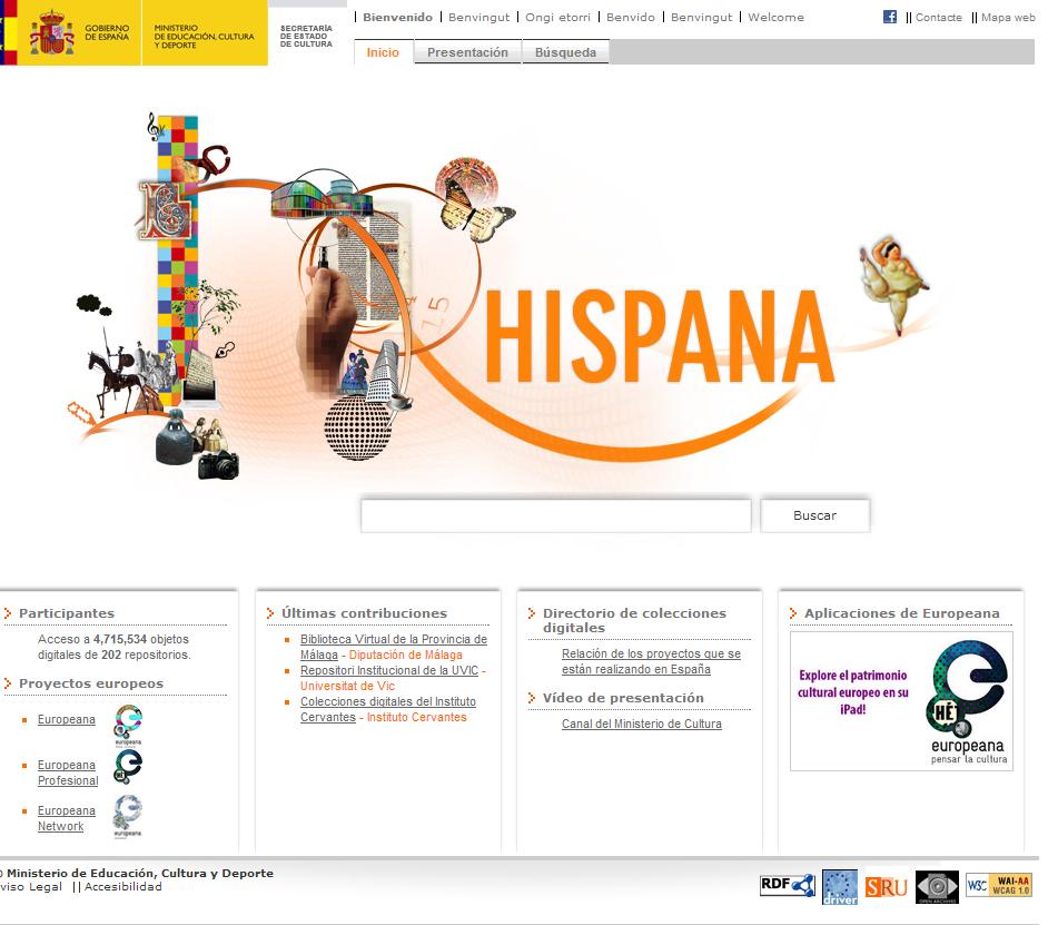 Hispana. Directorio y recolector de recursos digitales   Inicio