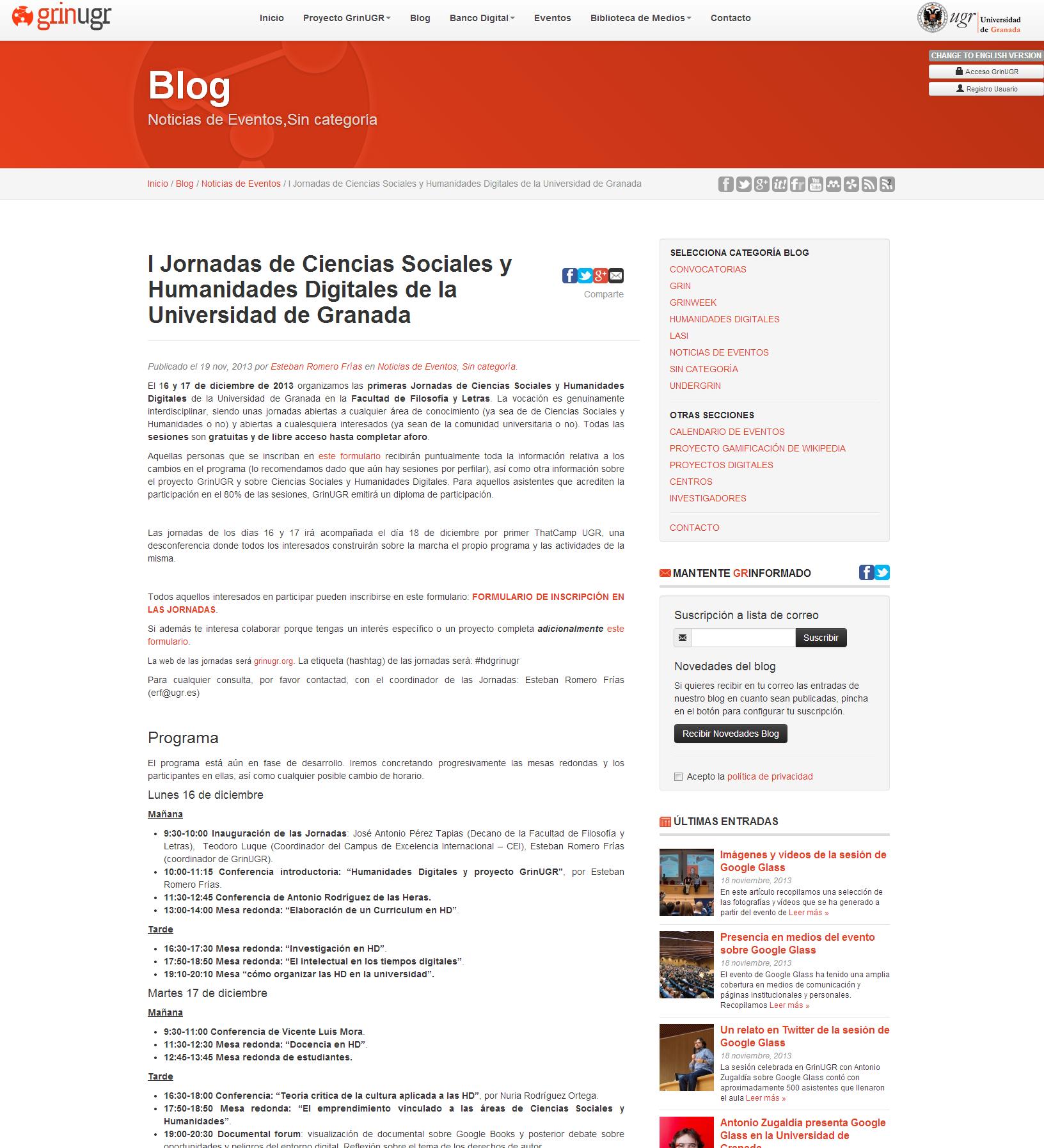 I Jornadas de Ciencias Sociales y Humanidades Digitales de la Universidad de Granada   GrinUGR