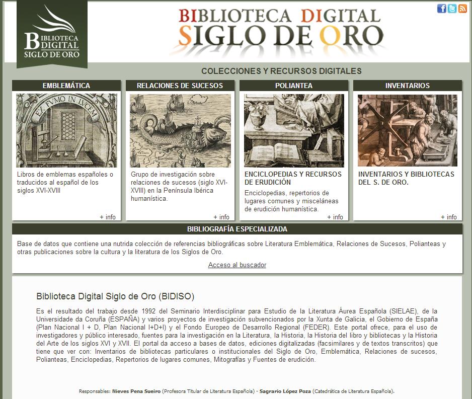 Biblioteca Digital Siglo de Oro  BIDISO    Bidiso