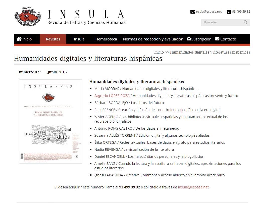 Humanidades digitales y literaturas hispánicas   INSULA