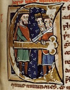 Alexandre et les rois vaincus, Paris, Bibliothèque Ste-Geneviève, ms. 1182, folio 268, Italie, xiie siècle, cliché IRHT-CNRS