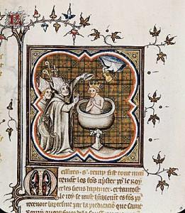 Le baptême de Clovis par saint Remi, vers 496. Enluminure (BnF, Paris)