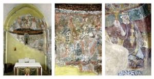 Estavar, abside (crédit phoho CESCM-Brouard 1993), détail (crédit photo CESCM-Brouard 1993) ; Saint-Martin-de-Fenollar (crédit photo CESCM-Brouard 1996)