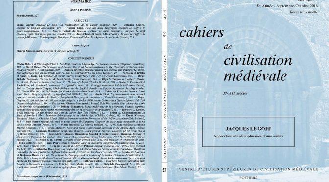 Cahiers de civilisation médiévale 59/3 (fascicule 235) :  Hommage inédit à Jacques Le Goff