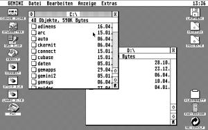 Gemini desktop running on the Hatari Atari ST emulator.