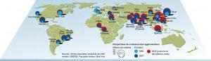 Les grandes agglomérations du Monde (c) P. Rekacewicz - Visions cartographiques/Les blogs du Monde diplo