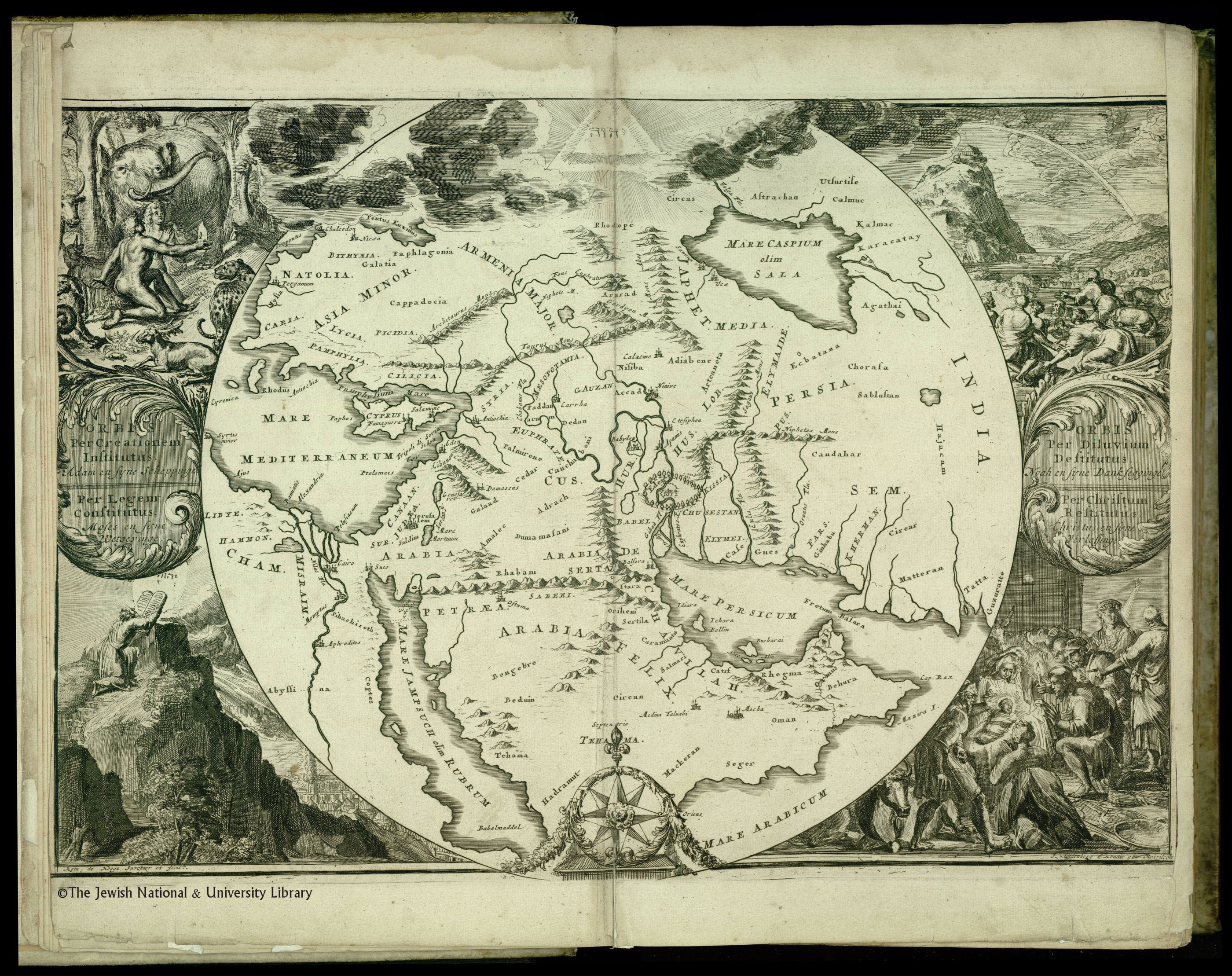 De Hooghe S Map Babylon Paradise Desert As Centre Of Biblical Lands