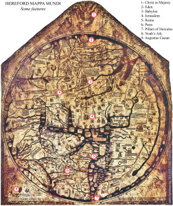 Figure 1: Hereford Map and some important landmarks (See the legend on the map)