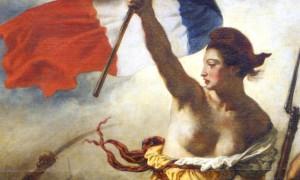 La Liberté guidant le peuple par Delacroix (détail). Marianne est coiffée de son bonnet phrygien rouge, signe d'être affranchie et d'avoir gagné la Liberté après une longue lutte