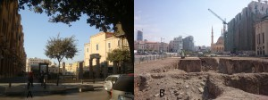 FIGURE 1. A- The Centre-Ville Beirut, by the Saint George's Cathedral. B- The northern side of the Place des Martyrs