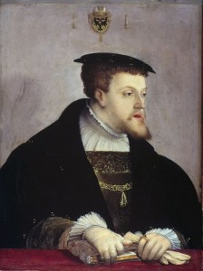 FIGURE 2. Portrait of Charles V of Habsburg under his Imperial bicephal-eagle coat of arms, by Christoph Amberger, 1532