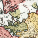 Scherer's world map (c.1700), centred on the North Pole, detail