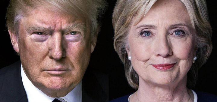 Mr Trump and Ms Clinton, photo from The Guardian