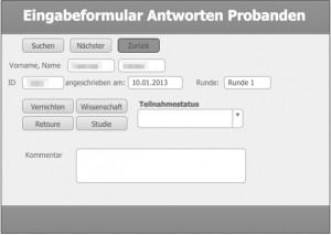 Screenshot des Datenbanklayouts zur Eingabe der Antworten der angeschriebenen Probanden