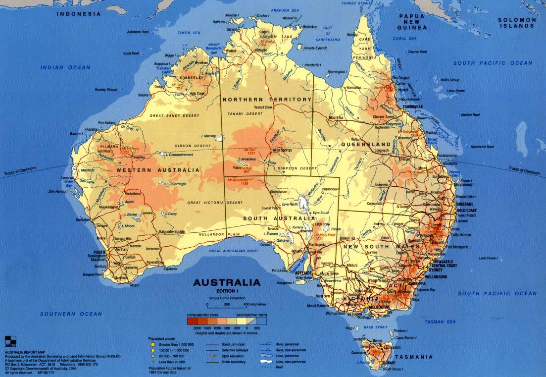 Carte de l'Australie (Source : http://www.ga.gov.au/images/GA1073.jpg)