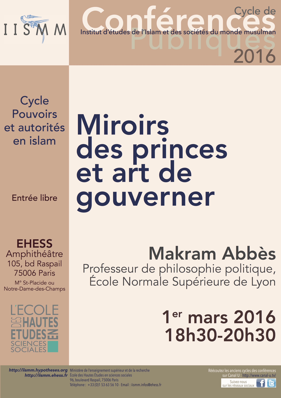 Conf rences publiques miroirs des princes et art de for Miroir des princes
