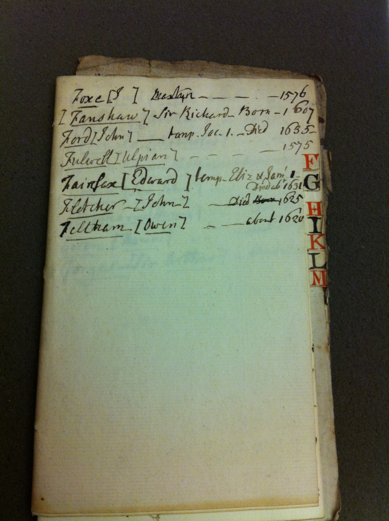 Warner's 'address book' of Shakespeare's contemporaries.