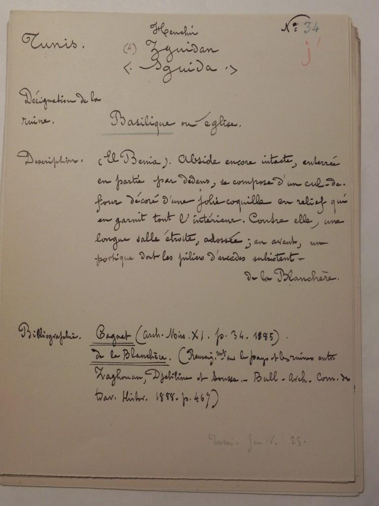 Fiche réalisée par P. Gauckler [INHA - Fonds Poinssot, 106, 088, 02]
