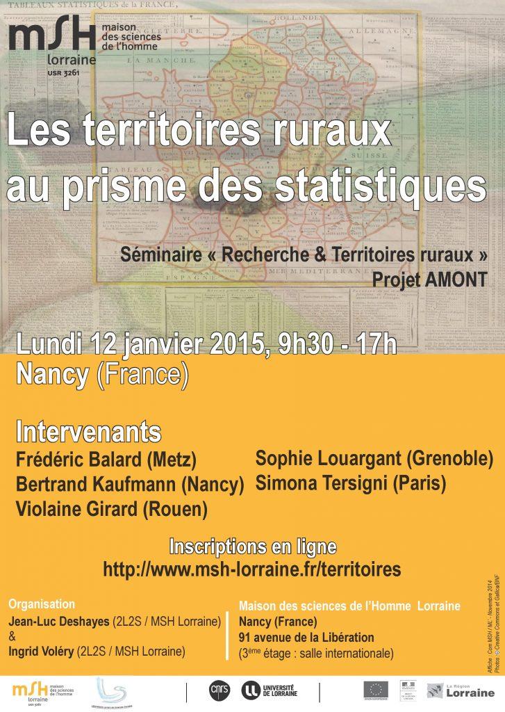 Affiche du séminaire Les territoires ruraux au prisme des statistiques