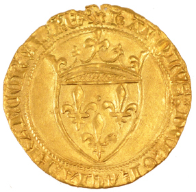 Fig. 15 : Ecu d'or à la couronne de Charles VI, frappé à Montpellier.