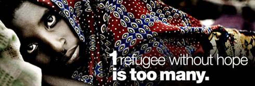 """One refugee without hope is too many"". Campaign image from World Refugee Day (20 June 2011). Photo from the United Nations – Armenia on Flickr (CC BY 2.0)."