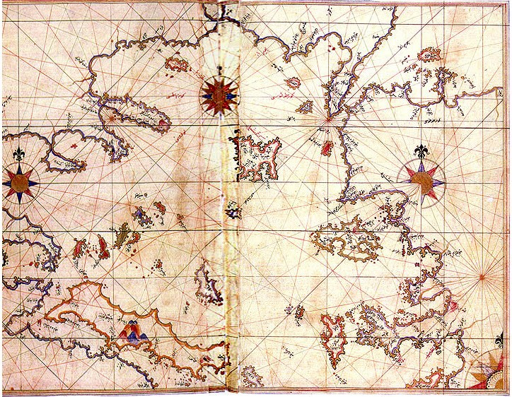 Carte de la mer Égée extraite du Kitab-ı Bahriye de Piri Reis