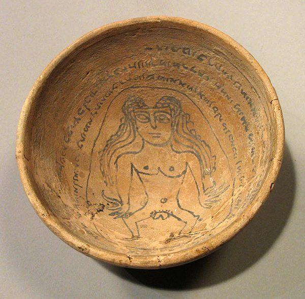 Bol talismanique avec une représentation de Lilith